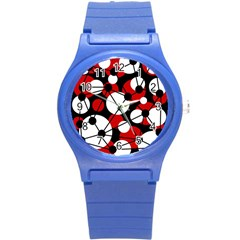 Red, black and white pattern Round Plastic Sport Watch (S)