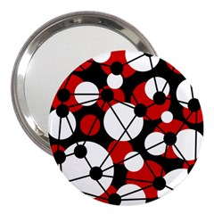 Red, black and white pattern 3  Handbag Mirrors