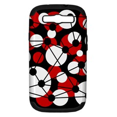 Red, black and white pattern Samsung Galaxy S III Hardshell Case (PC+Silicone)