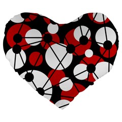 Red, black and white pattern Large 19  Premium Heart Shape Cushions