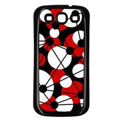 Red, black and white pattern Samsung Galaxy S3 Back Case (Black)