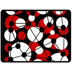 Red, black and white pattern Double Sided Fleece Blanket (Large)