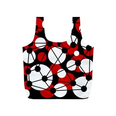 Red, black and white pattern Full Print Recycle Bags (S)