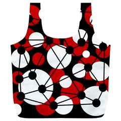 Red, black and white pattern Full Print Recycle Bags (L)