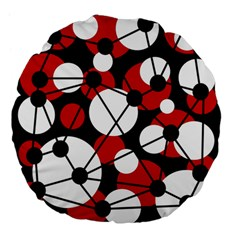 Red, black and white pattern Large 18  Premium Flano Round Cushions