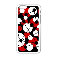 Red, black and white pattern Apple iPhone 6/6S White Enamel Case