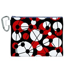 Red, black and white pattern Canvas Cosmetic Bag (XL)