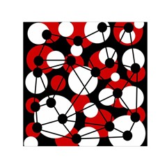 Red, black and white pattern Small Satin Scarf (Square)