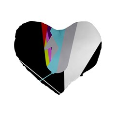 Colorful abstraction Standard 16  Premium Heart Shape Cushions
