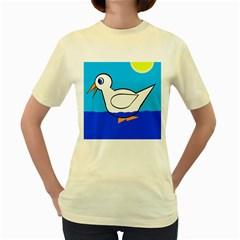 White duck Women s Yellow T-Shirt