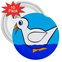 White duck 3  Buttons (10 pack)