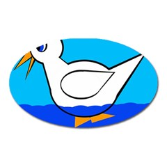 White Duck Oval Magnet