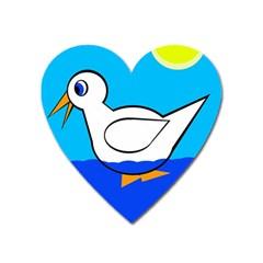 White duck Heart Magnet