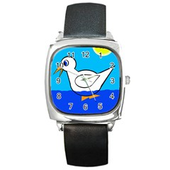 White duck Square Metal Watch
