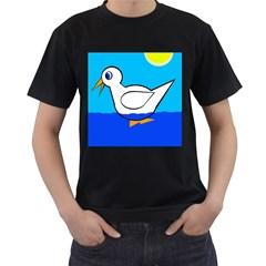 White duck Men s T-Shirt (Black)