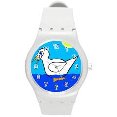 White duck Round Plastic Sport Watch (M)