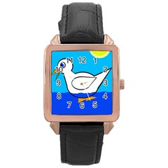 White duck Rose Gold Leather Watch