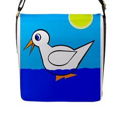 White duck Flap Messenger Bag (L)