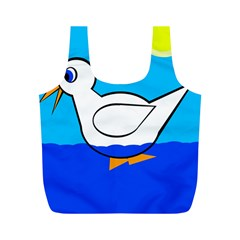 White duck Full Print Recycle Bags (M)