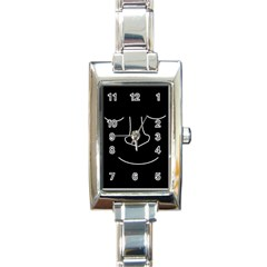 Sleeping face Rectangle Italian Charm Watch