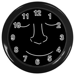 Sleeping face Wall Clocks (Black)