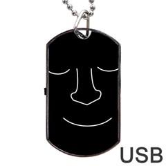 Sleeping face Dog Tag USB Flash (One Side)
