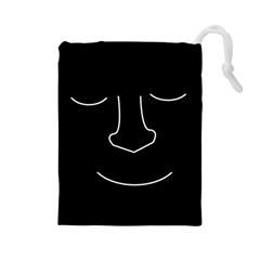 Sleeping face Drawstring Pouches (Large)