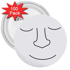 Sleeping face 3  Buttons (100 pack)