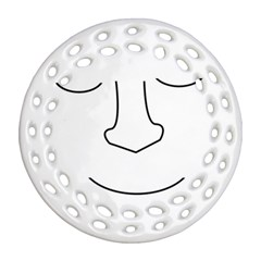 Sleeping face Round Filigree Ornament (2Side)