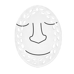 Sleeping face Oval Filigree Ornament (2-Side)