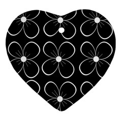 Black and white floral pattern Ornament (Heart)