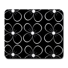 Black and white floral pattern Large Mousepads