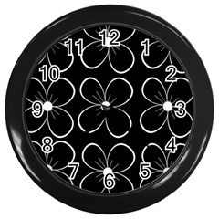 Black and white floral pattern Wall Clocks (Black)