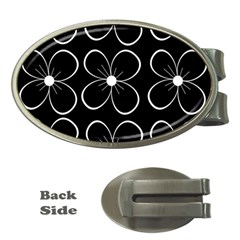 Black and white floral pattern Money Clips (Oval)