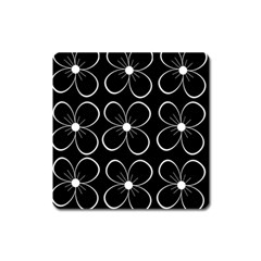 Black and white floral pattern Square Magnet
