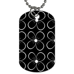 Black and white floral pattern Dog Tag (One Side)