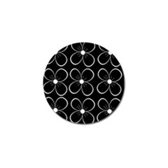 Black and white floral pattern Golf Ball Marker