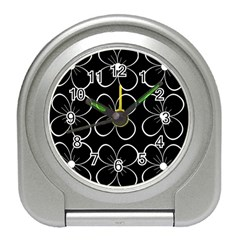 Black and white floral pattern Travel Alarm Clocks