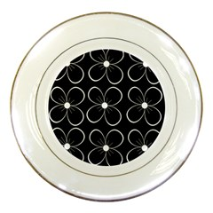 Black and white floral pattern Porcelain Plates