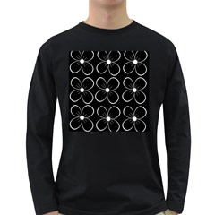 Black and white floral pattern Long Sleeve Dark T-Shirts