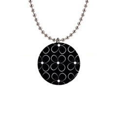 Black and white floral pattern Button Necklaces