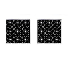 Black and white floral pattern Cufflinks (Square)