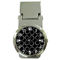 Black and white floral pattern Money Clip Watches