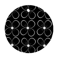 Black and white floral pattern Round Ornament (Two Sides)