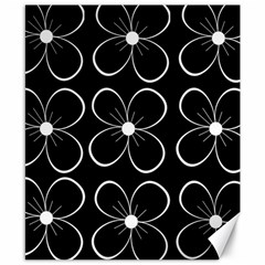 Black and white floral pattern Canvas 8  x 10