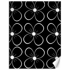 Black and white floral pattern Canvas 12  x 16
