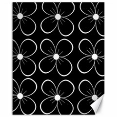 Black and white floral pattern Canvas 16  x 20
