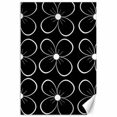 Black and white floral pattern Canvas 24  x 36