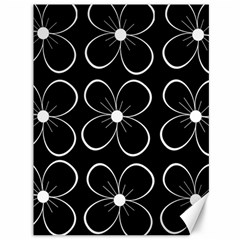 Black and white floral pattern Canvas 36  x 48
