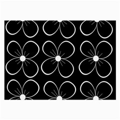 Black and white floral pattern Large Glasses Cloth (2-Side)